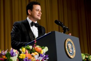 Jimmy Kimmel durante su discurso en la White House Correspondents Dinner 2012